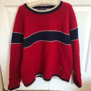 Men Vintage Tommy Hilfiger Red & Navy Wool sweater
